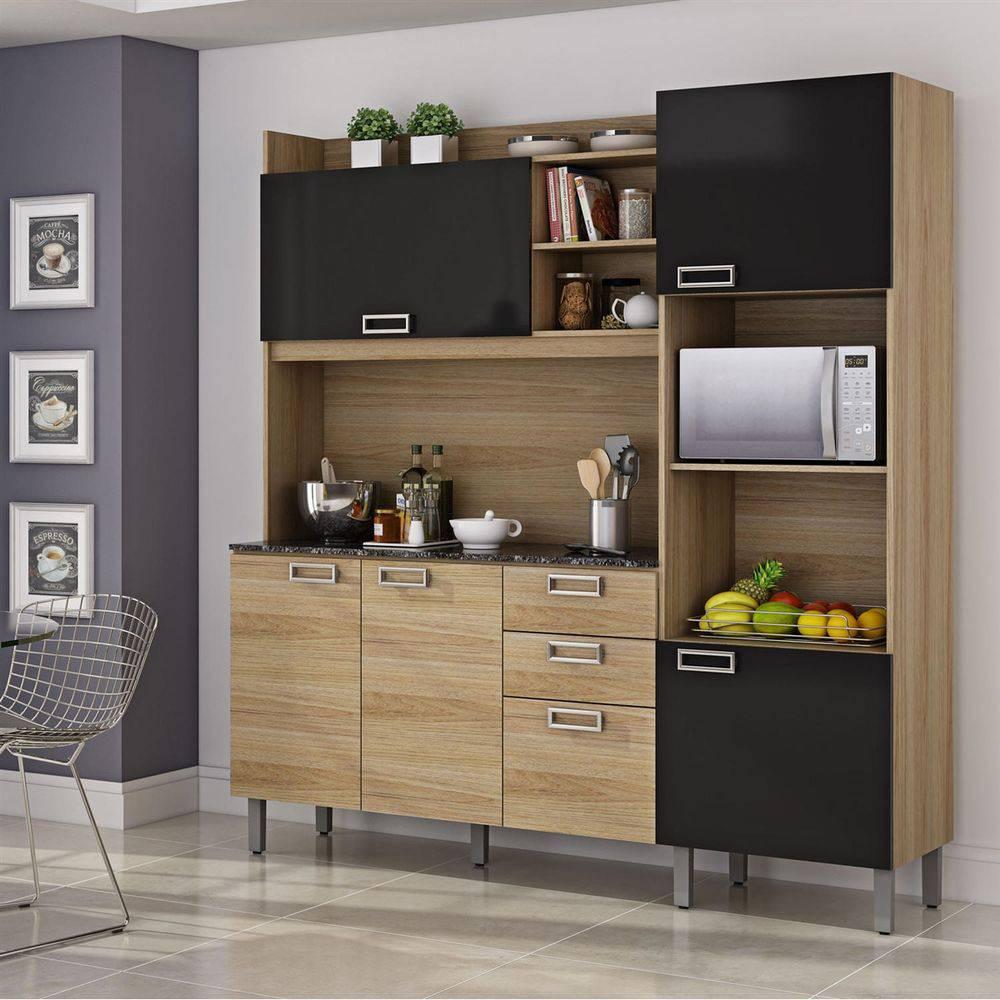 Cozinha Compacta 6 Portas E 2 Gavetas Itatiaia Damasco I4g2-180 Carvalho Hanover/preto Laca