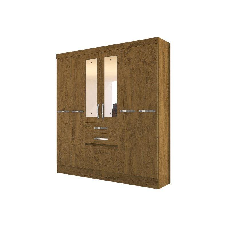 Guarda Roupa de Casal Mafra 06 Portas e Espelho Castanho Wood - Moval