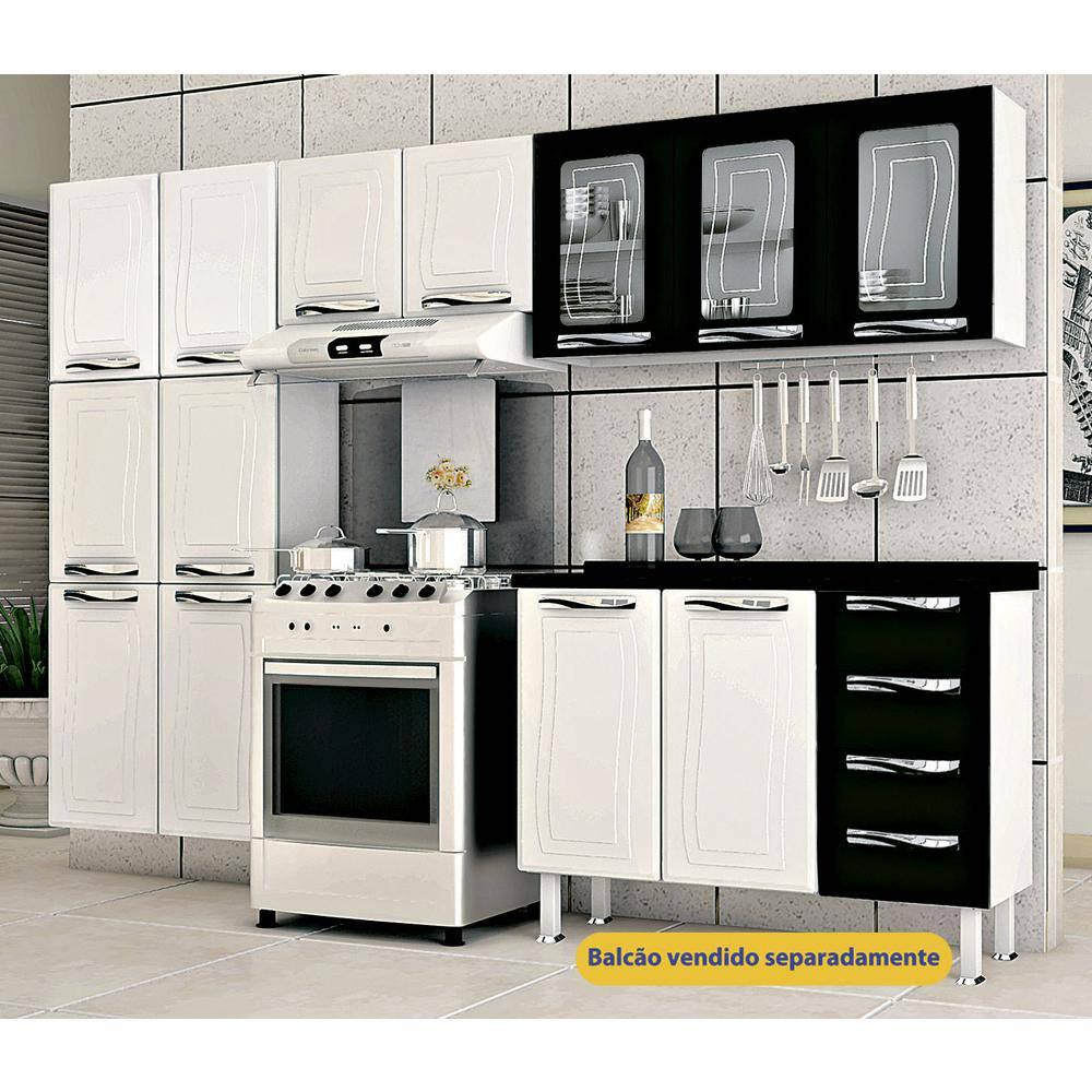 Cozinha Em Aço Colormaq Ipanema 3 Peças Com 11 Portas E Armário Triplo Com Vidro-Branco E Preto