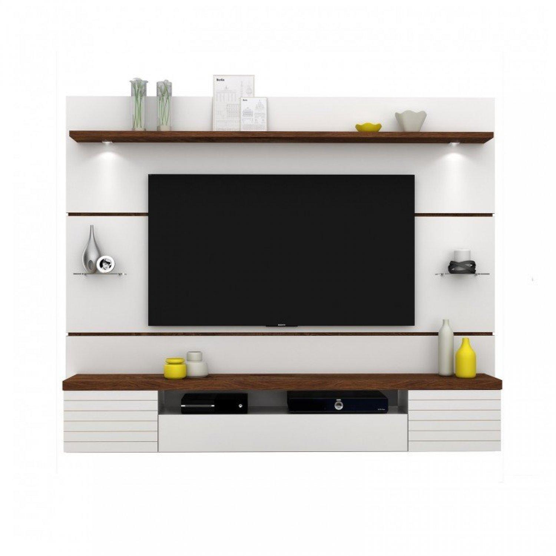 Painel para TV até 55 Polegadas com LED Estilo Dj Móveis Branco Brilho/ Rústico Malbec