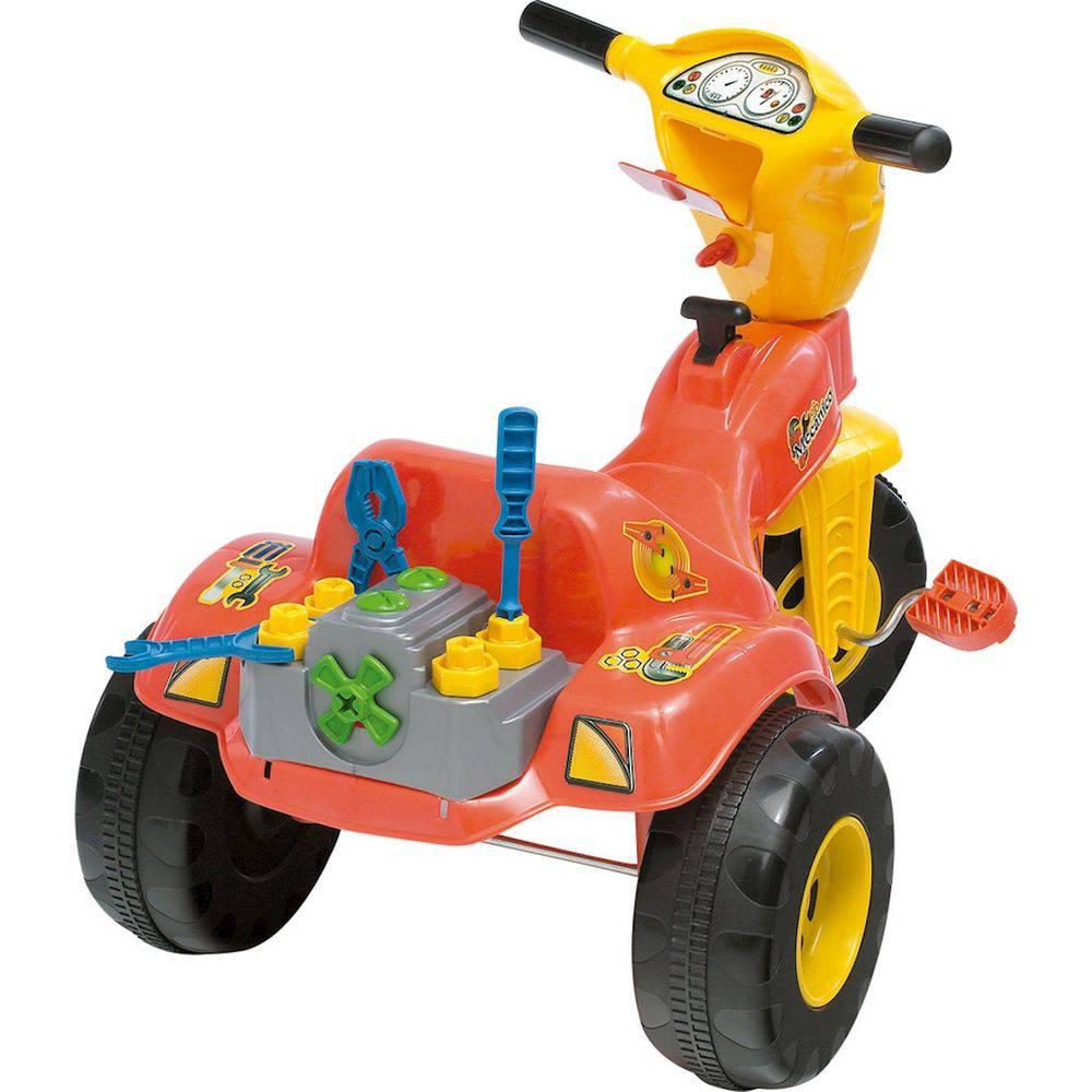 Triciclo Infantil Magic Toys Tico Tico - Mecânico Laranja/Amarelo