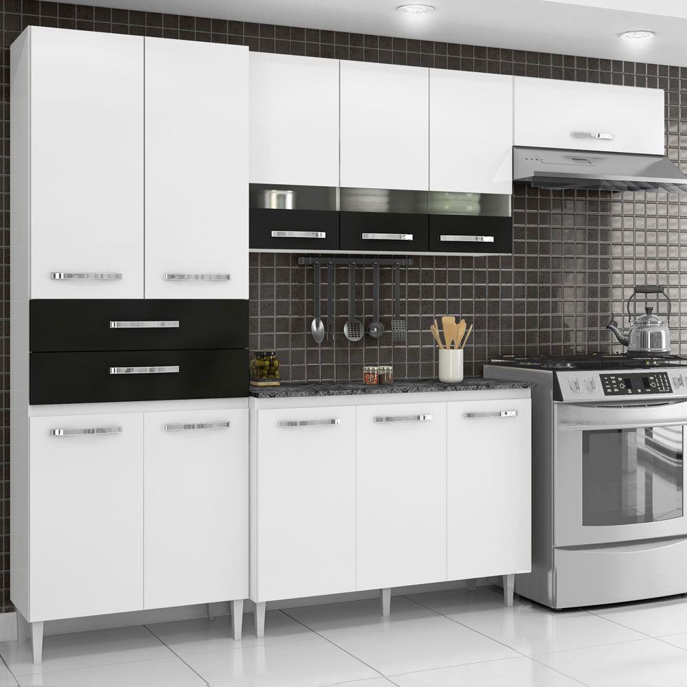 Cozinha Completa Compacta Julia Aramóveis 8 Portas Branco e Preto