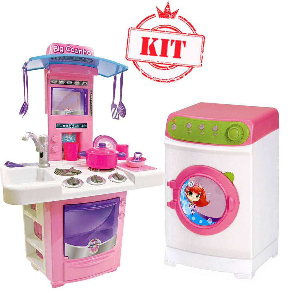 Kit Nova Big Cozinha 630 Big Star Máquina De Lavar Super Elétrica 8045 Magic Toys