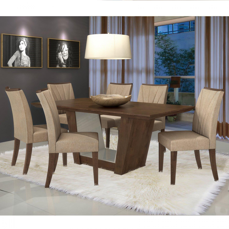 Conjunto Sala de Jantar Mesa Tampo MDF 6 Cadeiras Apogeu I Móveis Lopas Imbuia/Rinzai Bege