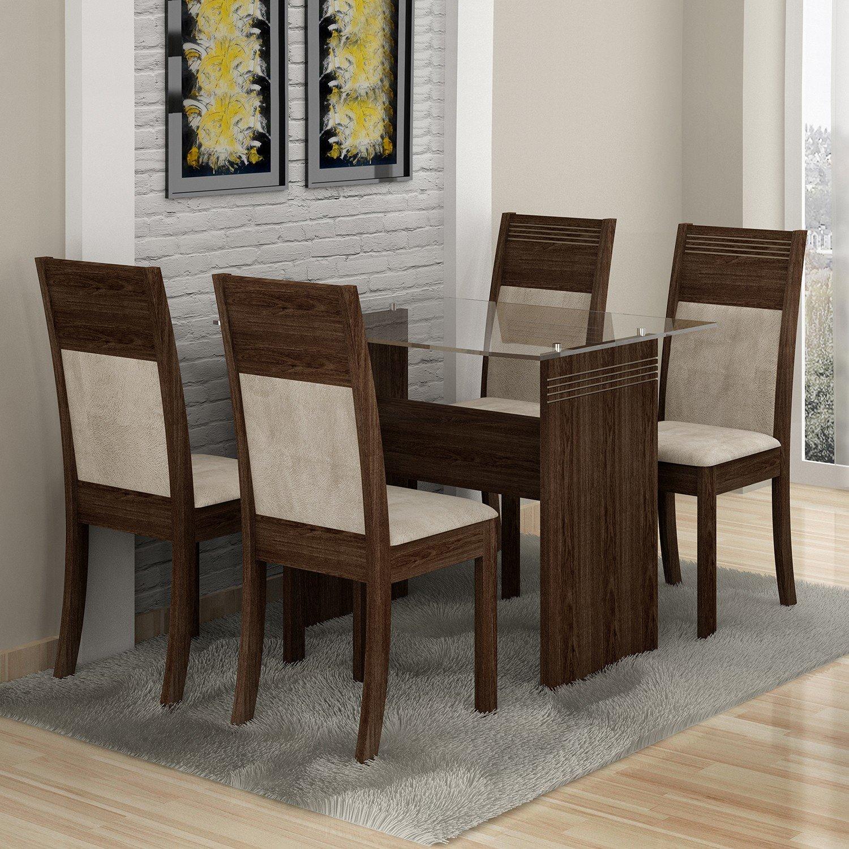 Conjunto Sala de Jantar Mesa 4 Cadeiras Ravena Plus Cel Móveis Malbec/ Suede Animale Cru
