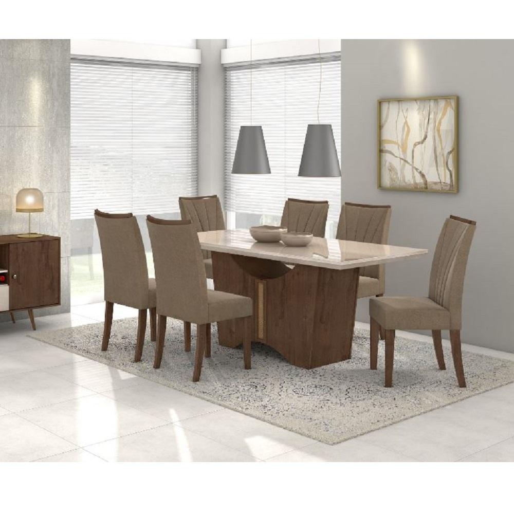 Conjunto Sala de Jantar Lopas Rock com Mesa Vidro OFF White 1,80 com 6 cadeiras Apogeu em tecido suede bege - Imbuia