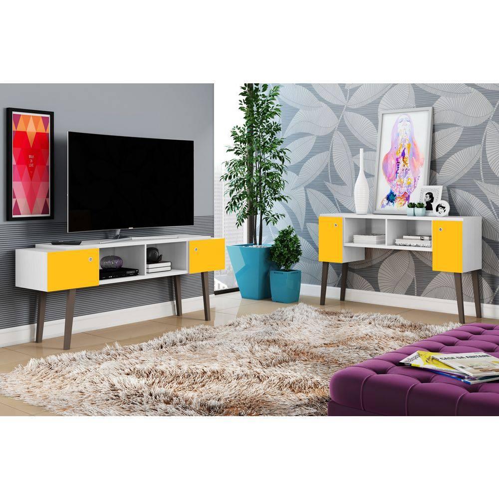 Bancada/aparador Sensação 2 Portas Branco Textura/amarelo - 2020-87 - Móveis Albatroz