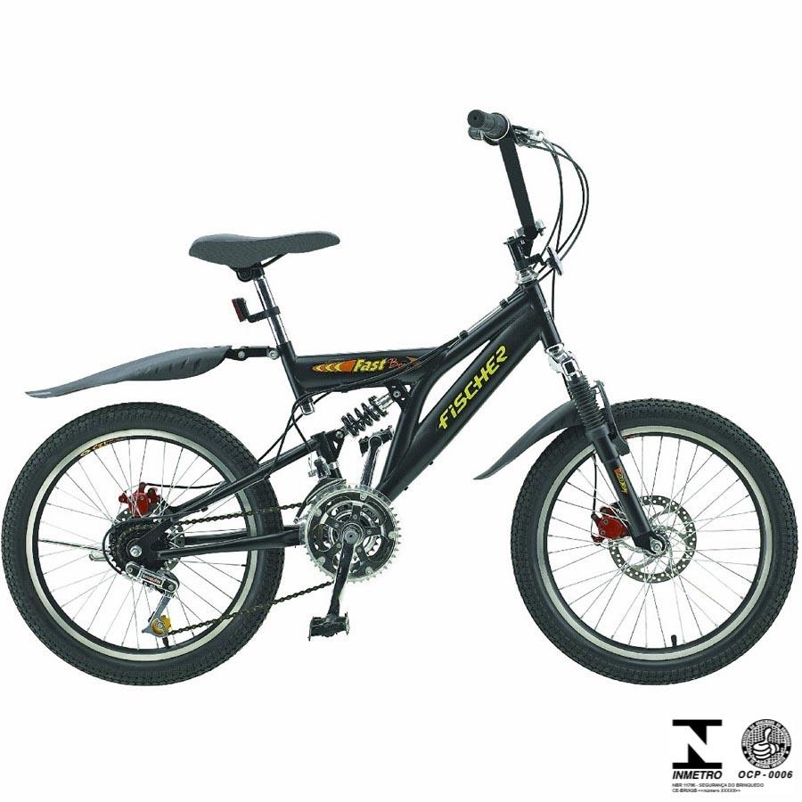 Bicicleta Infantil Fast Boy Aro 20 18V Preta Em Aço Carbono 5657 Fischer