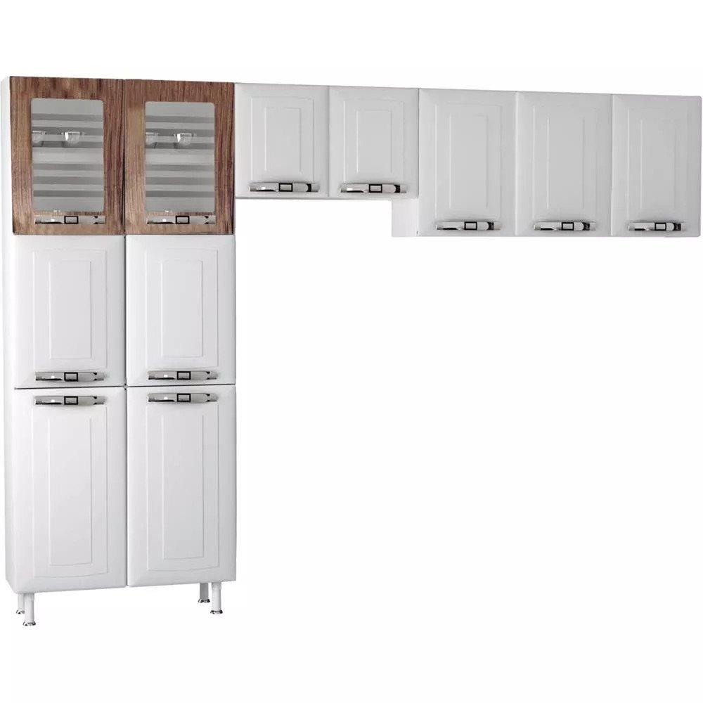 Cozinha de Aço 3 peças, 11 Portas - Colormaq Class Master AP3P/MAP2P/P6PV - Branco / Carvalho