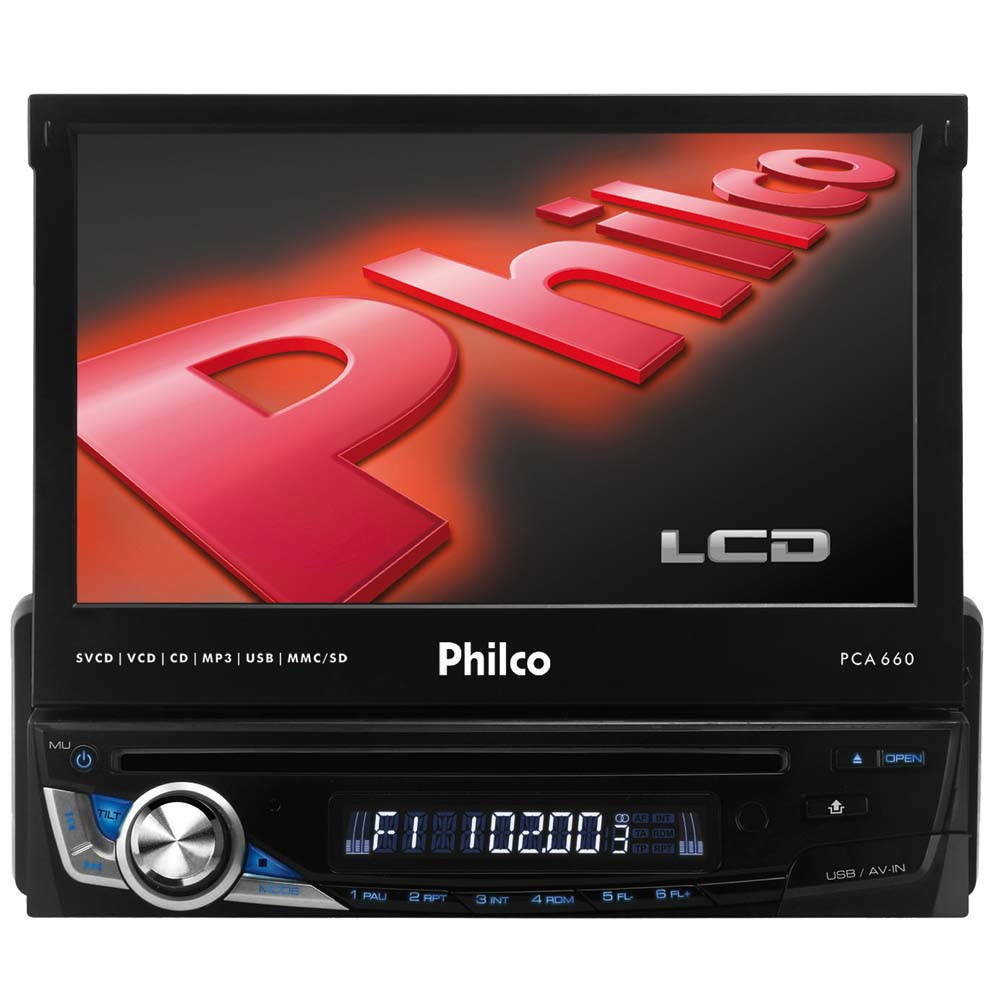 "CD Player Automotivo Philco PCA660 com Tela de 7"", Rádio AM/FM"
