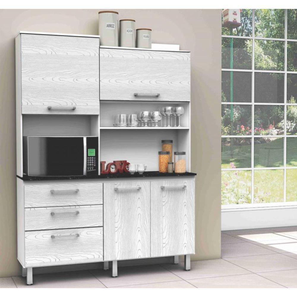 Kit Cozinha Compacta Batrol 7029 Inovare 4 Portas e 3 Gavetas Branco/ Nervura