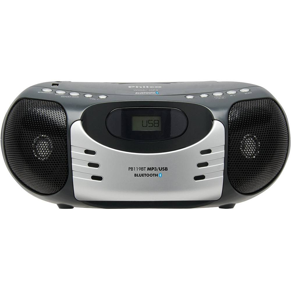 Som Portátil Philco PB119bt com Rádio AM/FM MP3 Bluetooth USB e AUX IN - Cinza/Preto