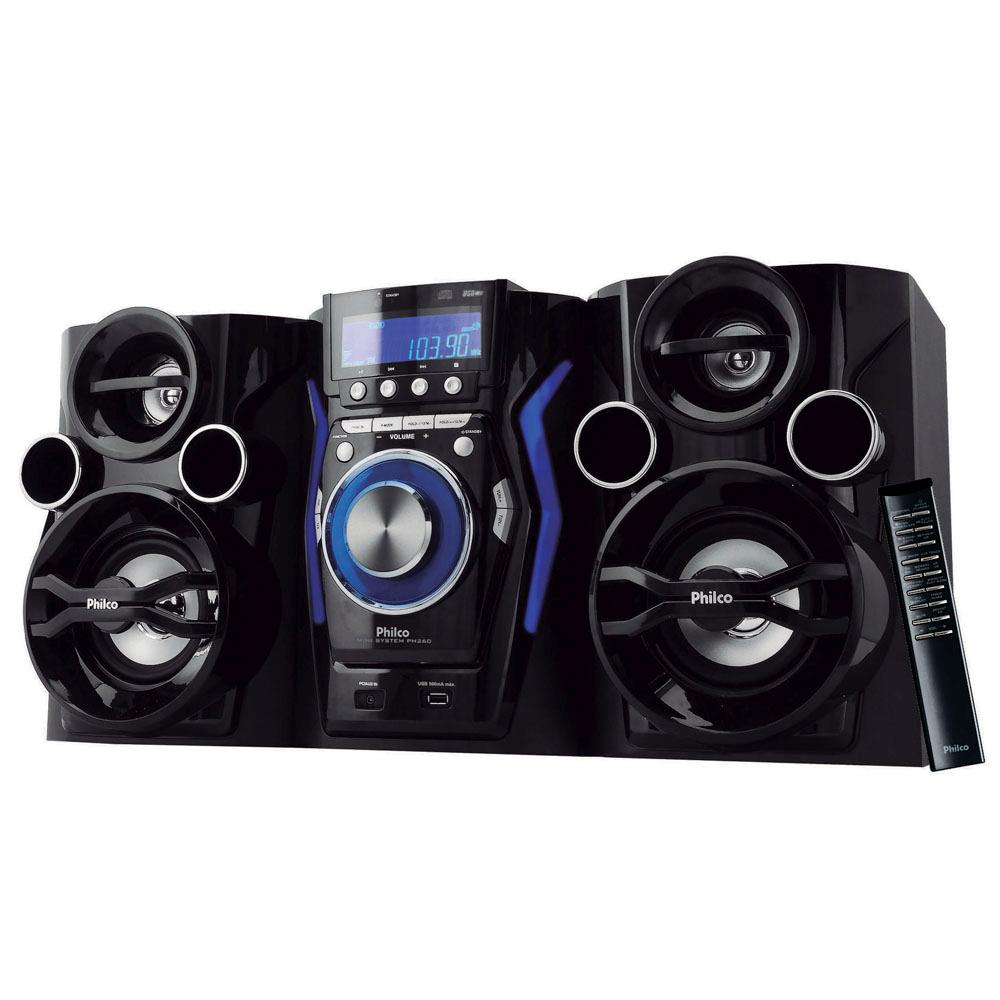 Mini System Philco PH260 com MP3, Entrada USB, Entrada Auxiliar e Rádio FM – 160 W