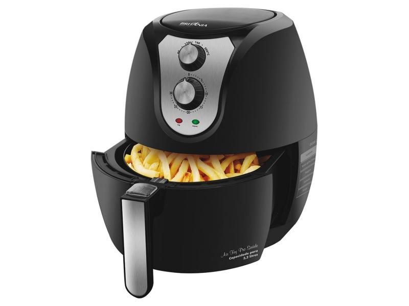 Fritadeira Elétrica Sem Óleo/Air Fryer Britânia - Air Fry Pro Saúde Preta 3,2L com Timer