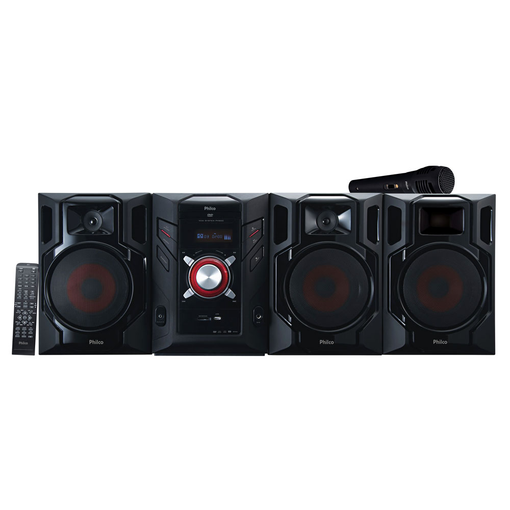 Mini System Philco PH800 c/ DVD, Entrada Auxiliar, USB, Slot p/ Cartão e Subwoofer - 800W
