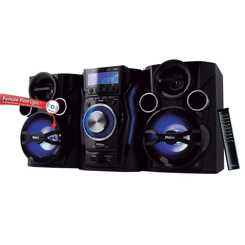 Mini System Philco PH450 com MP3, Entrada USB, Entrada Auxiliar, Rádio FM e Flash Lights – 400 W