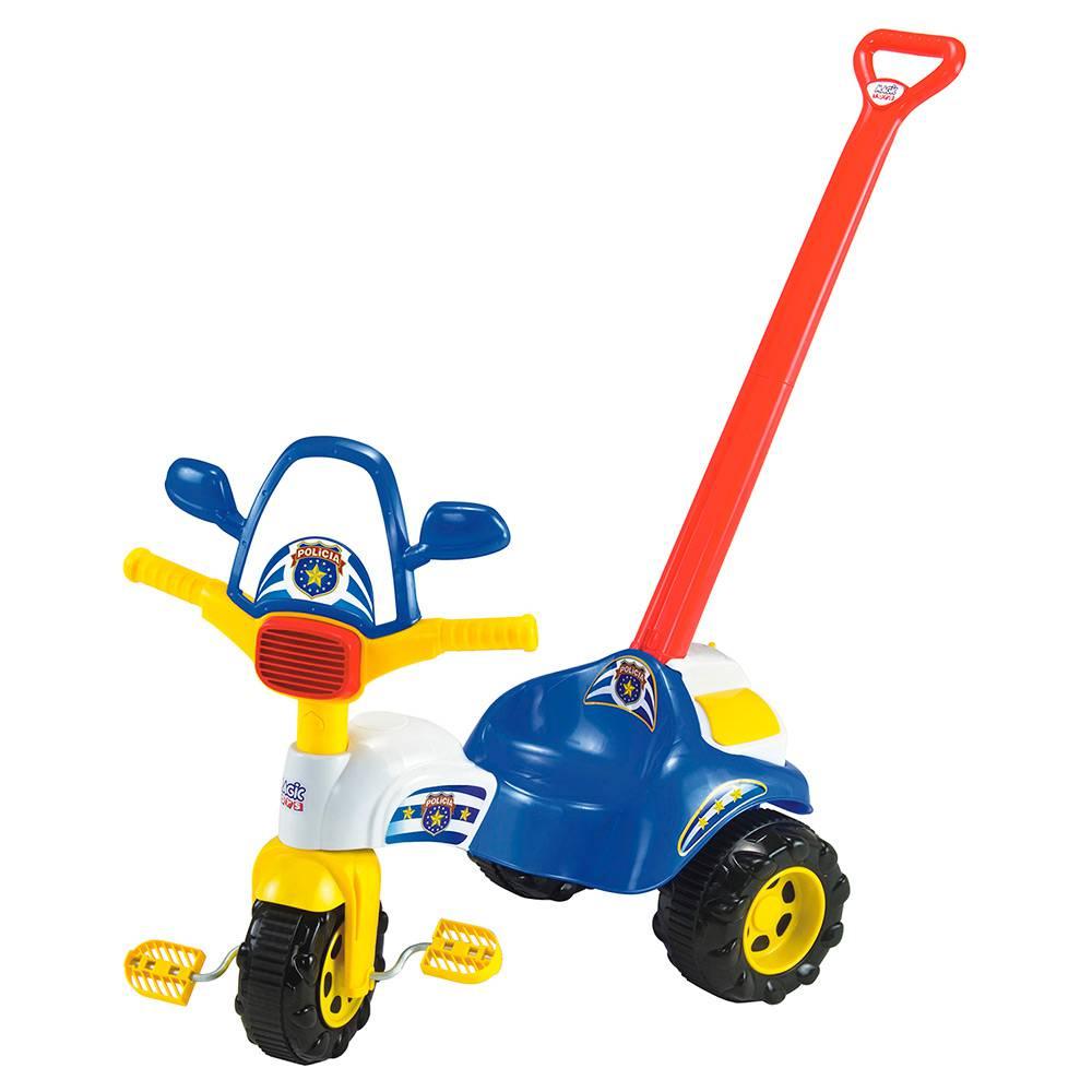 Triciclo Infantil Tico-Tico Polícia com Alça - Magic Toys
