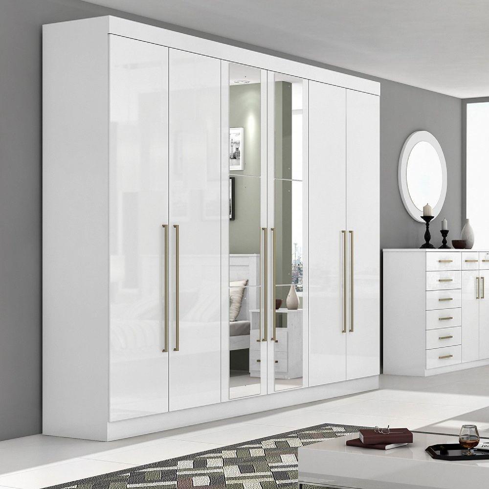 Guarda Roupa Casal com Espelho 6 Portas 6 Gavetas Castellaro Móveis Lopas - Branco